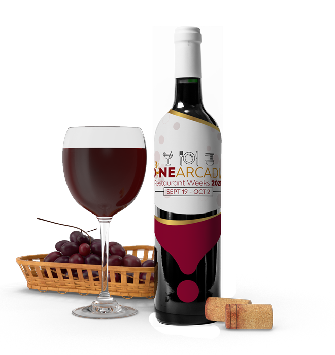 Wine glass, grapes in a basket, corks, and a wine bottle with Dine Arcadia logo on it