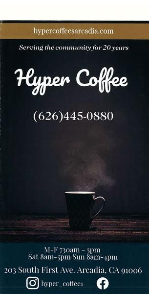 image of Hyper Coffee menu front with coffee cup